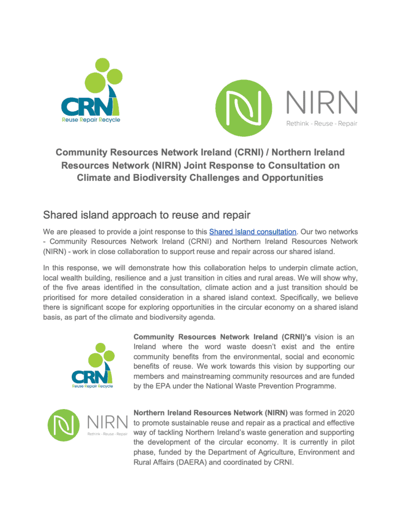 Community Resources Network Ireland (CRNI) / Northern Ireland Resources Network (NIRN) Joint Response to Consultation on Climate and Biodiversity Challenges and Opportunities