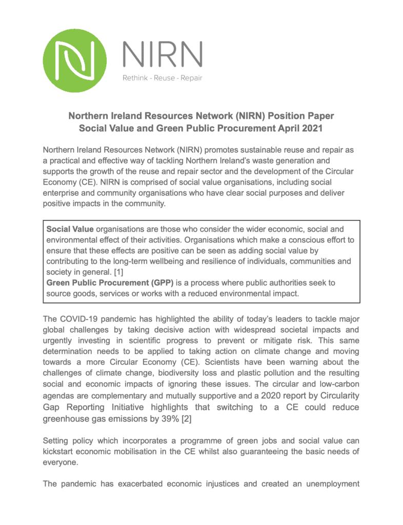 NIRN Social Value Cover